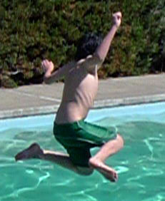 liam jumping into the pool