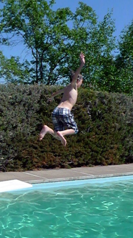 flying over the pool