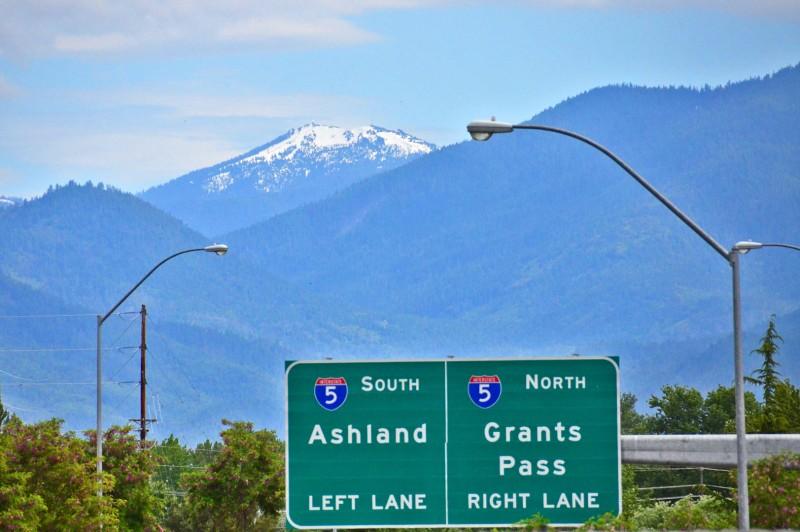 ashland sign medford mt. ashland in background