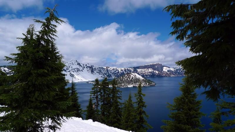 crater lake winter snow spring