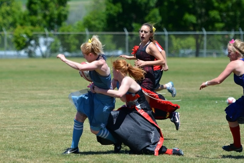 BRUTLE hit female on female tackle rugby football southern oregon university