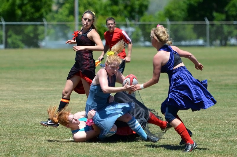 Southern Oregon University women's rugby tackling football