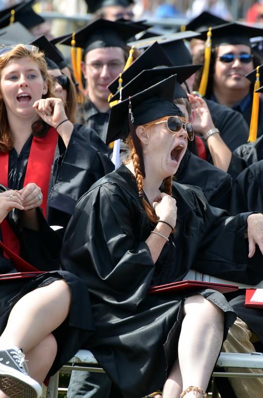 yawning graduate cap hat