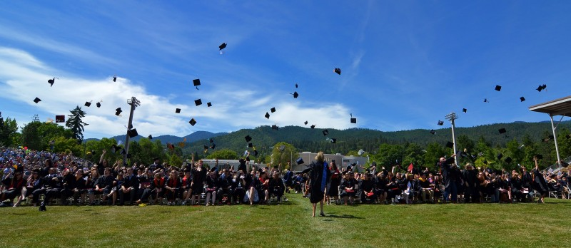 hat throw end of commencement raider stadium ashland oregon southern oregon