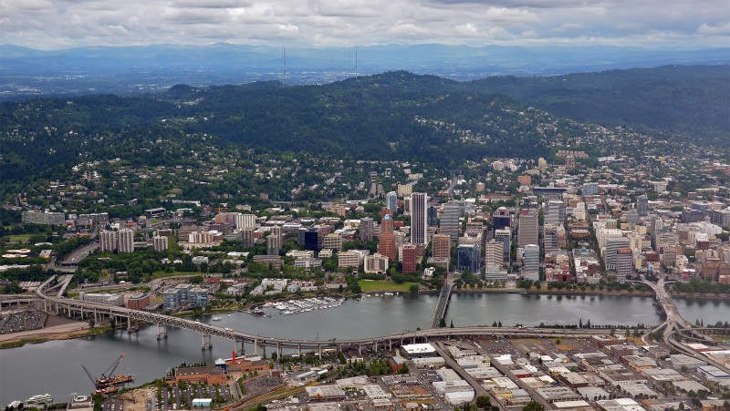 downtown portland oregon aerial photography