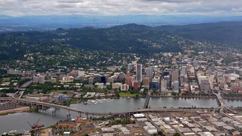downtown portland oregon aerial photography
