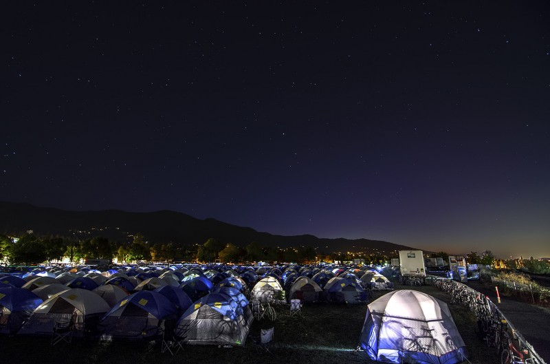 thousands of tents and bikes under the stars ashland oregon