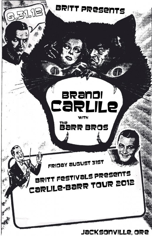 brandi carlile the barr bros britt festivals jacksonville oregon august 31 2012 flyer promo