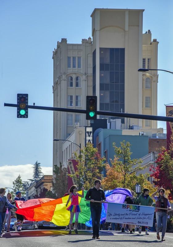 SOPride parade 2013 ashland springs hotel rainbow flag