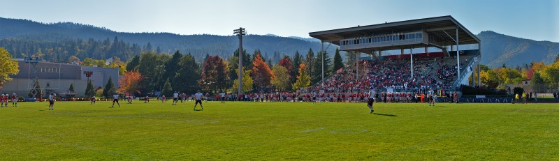 panorama photomerge raider stadium kickoff fall autumn colors