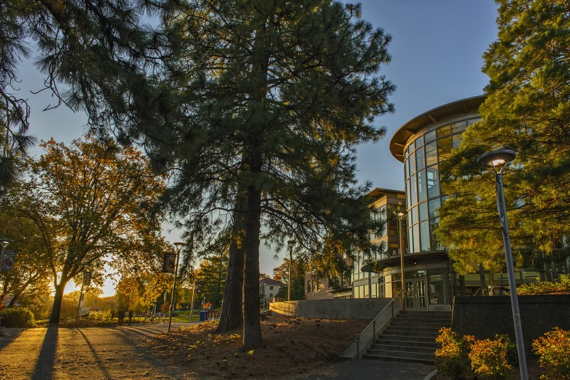 sou campus fall morning hannon library