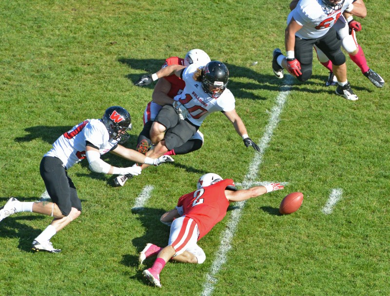 SOU football vs wmu Laurence Calcagno forces fumble Josh Leff recovers