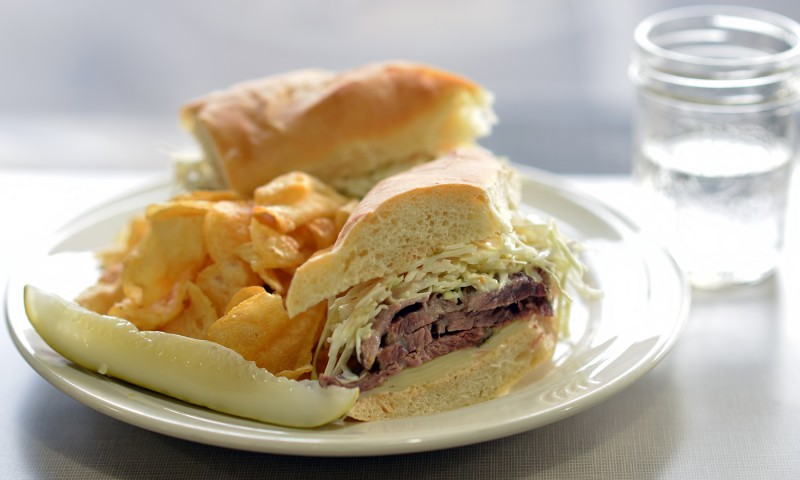 sammich pastrami on baguette russian dressing slaw