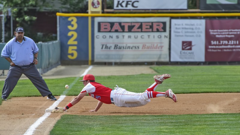 Eric Carlson AHS baseball diving sequence ashland high school third base