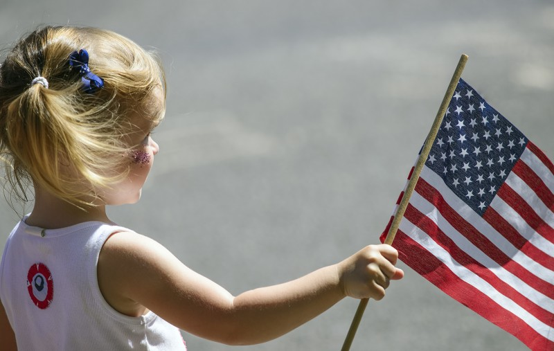 ashland 4th of july parade little girl american flag