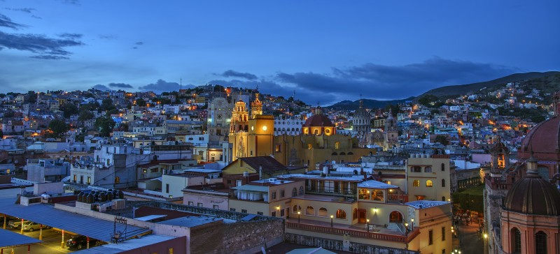 view from El Gallo Pitagorico guanajuato blue hour