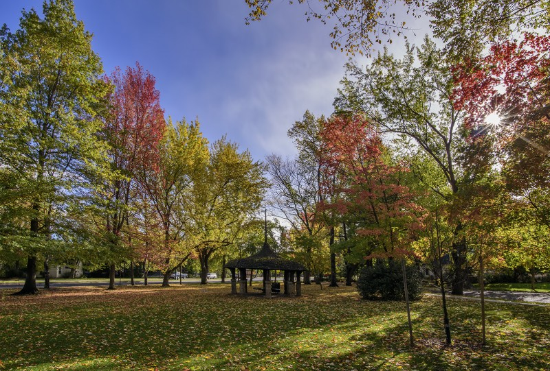 triangle park between autumn storms fall foliage