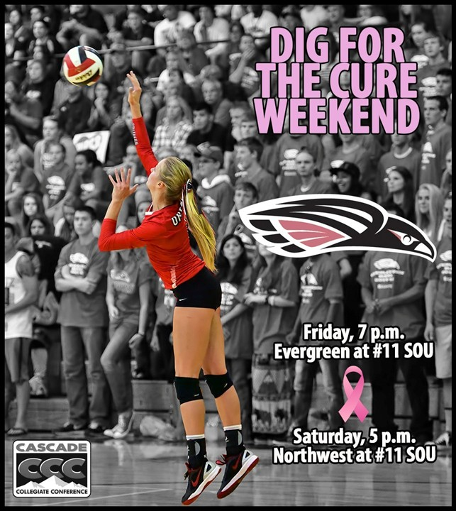dig pink volleyball breast cancer awareness southern oregon university raiders photo by al case ashland daily photo