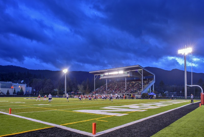 14N_7444 RAW SOU football Raider Stadium the storm begins small
