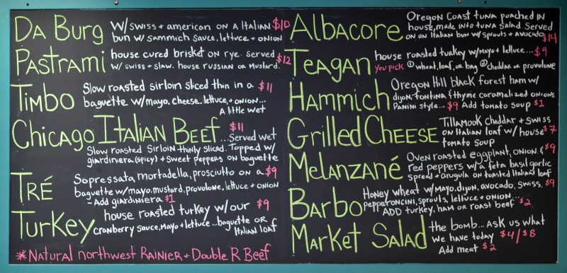 sammich menu board