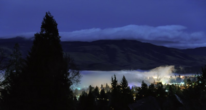 ashland foggy night under full moon