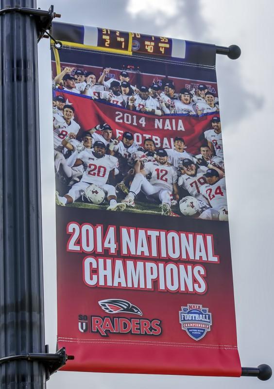 SOU football national champions banner siskiyou blvd