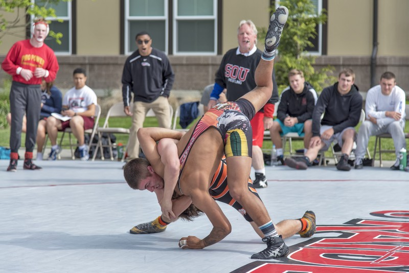SOU wrestling annual outdoor spring dual CJ Palmer Triston Quitugua