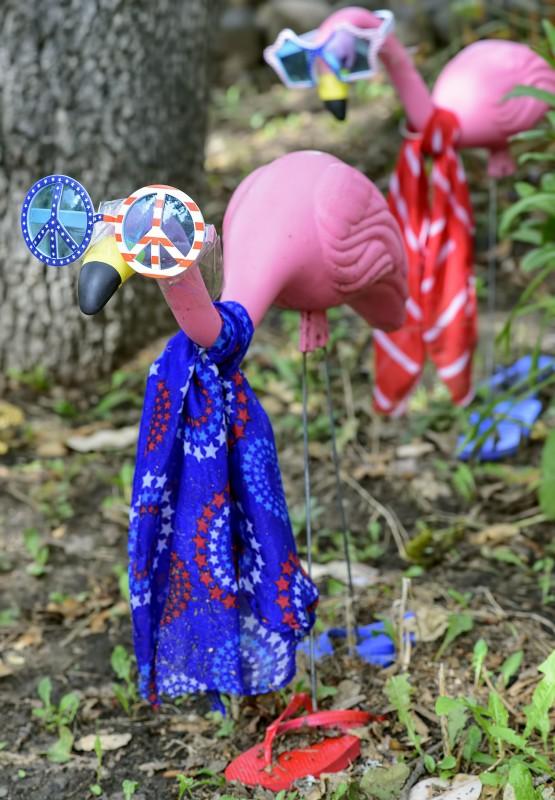 summer pink flamingos lawn ornaments dress up costumes