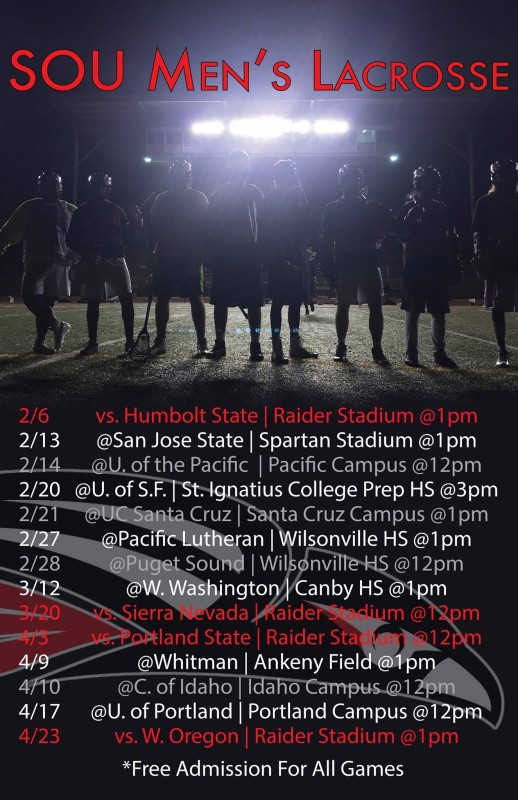 sou men's lacrosse 2016 southern oregon university schedule