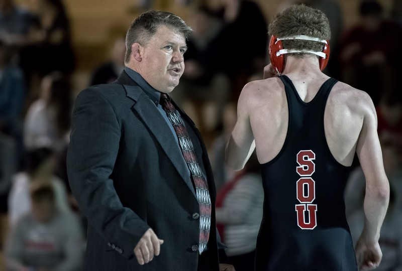 SOU wrestling Coach Mike Ritchey Casey Coulter