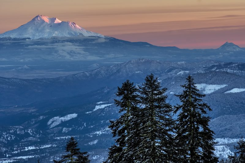 christmas mt ashland shasta sunset