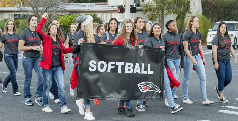 sou homecoming parade softball