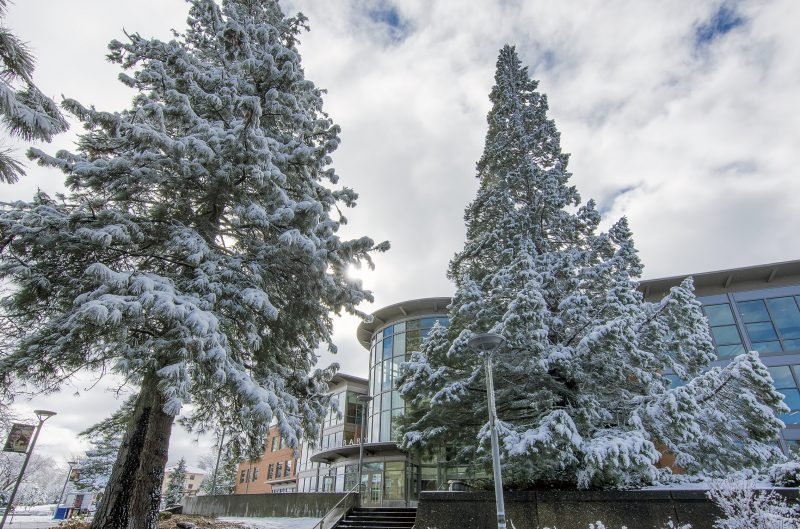 hannon library southern oregon university snow winter sou