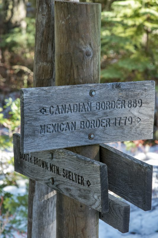 pct brown mountain pct sign mexico canada south brown mountain shelter snowshoeing