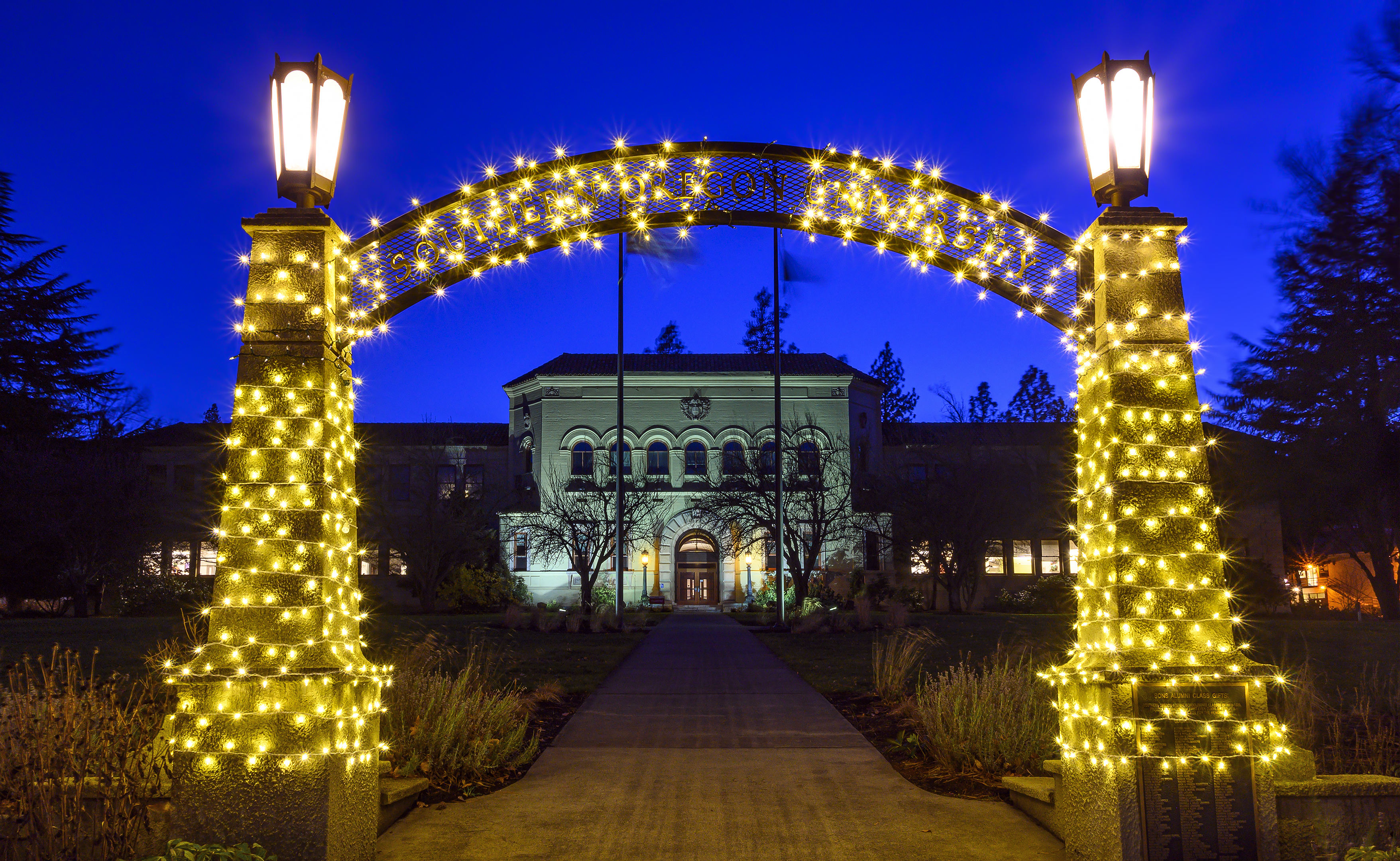 sou arch holiday lights blue hour