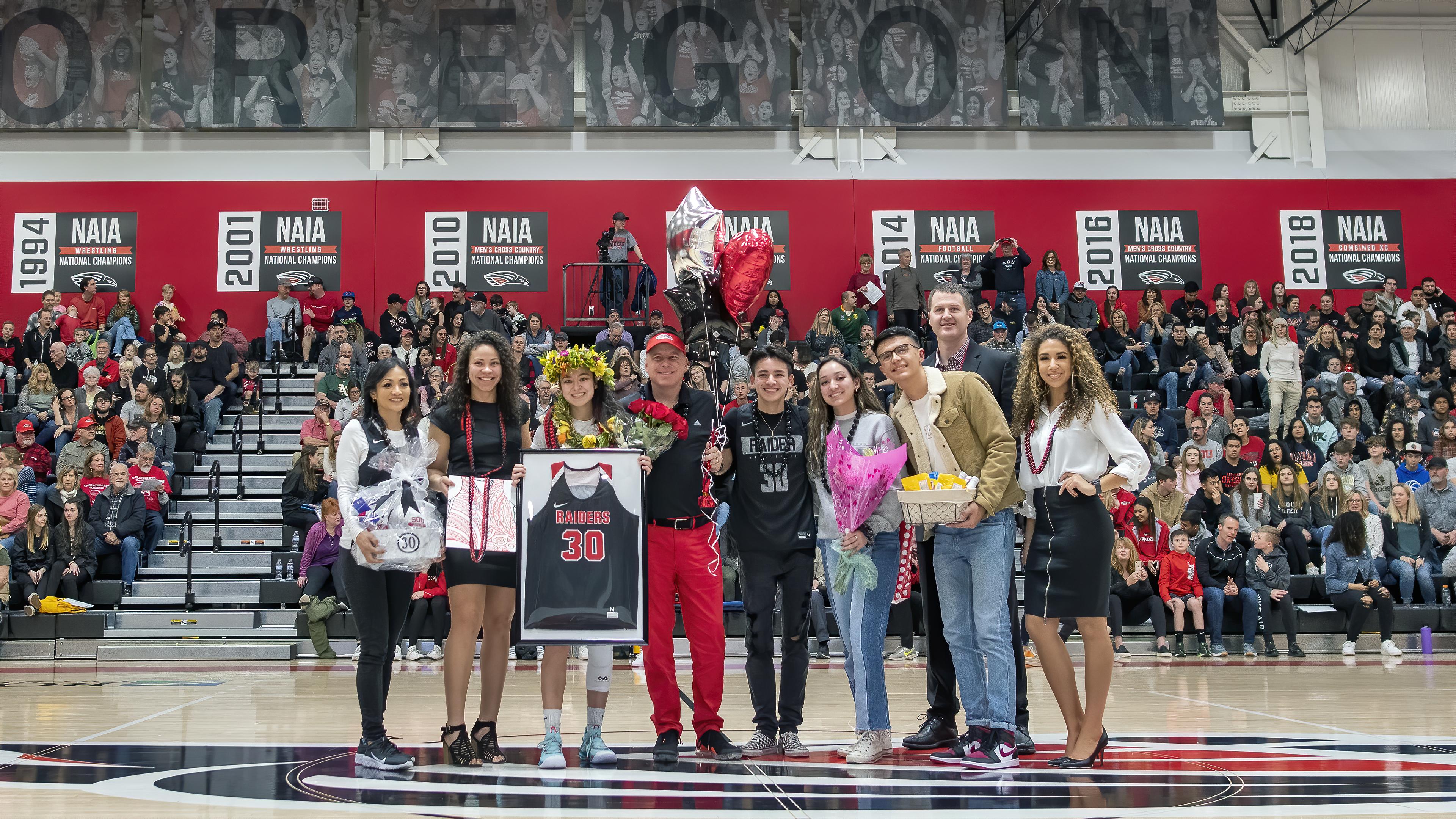 sou womens basketball Delaney Sparling senior night family- topaz ai denoise