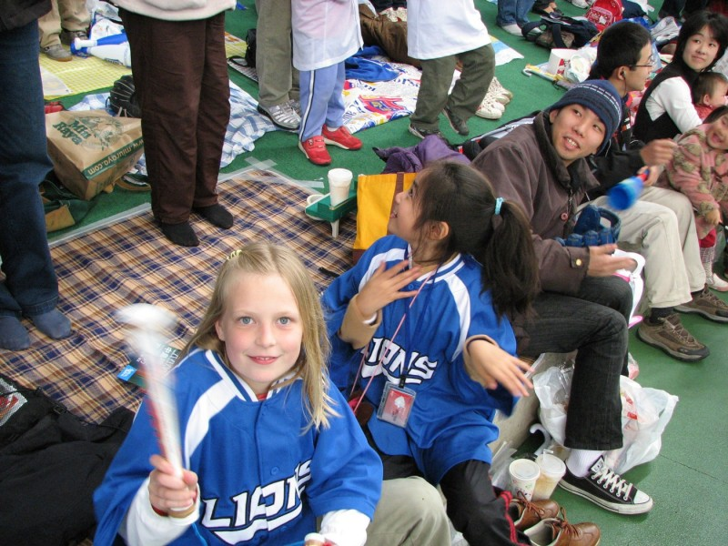 Ellie and Maya at Japanese Professional Baseball game
