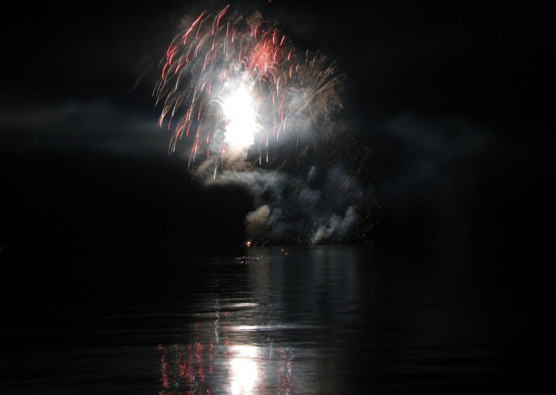 fireworks over lake of the woods