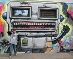 Ryan in front of nice graffiti in Vesterbro Copenhagen Denmark