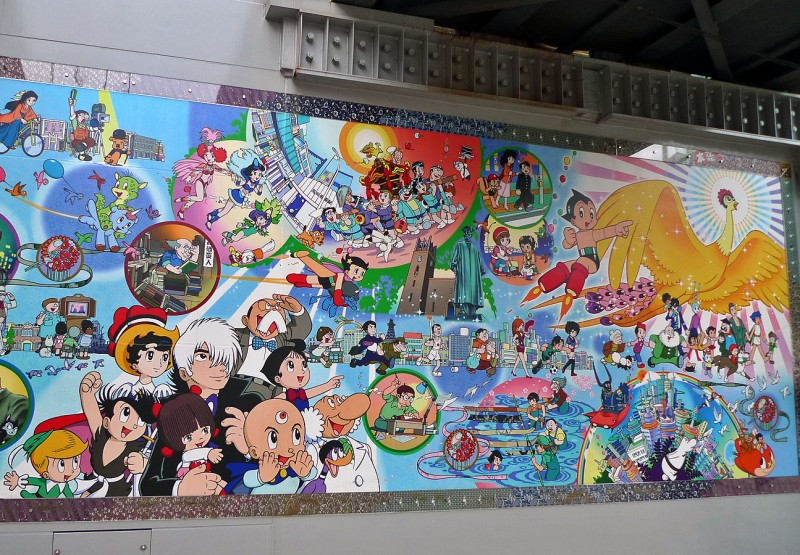 takadanobaba train station manga artwork