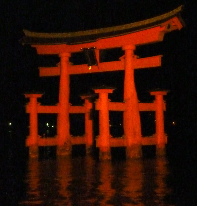 miyajima torii at night