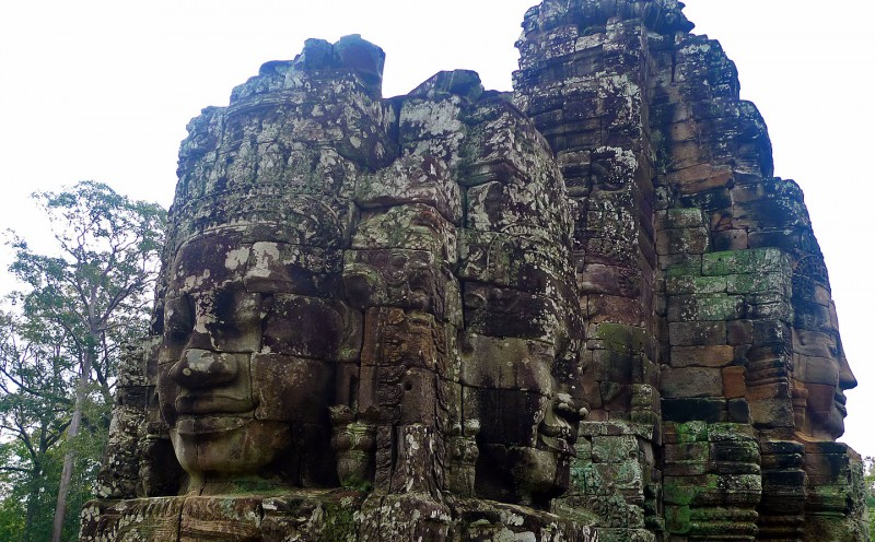 Camdoia Angkor Thom giant faces in stone