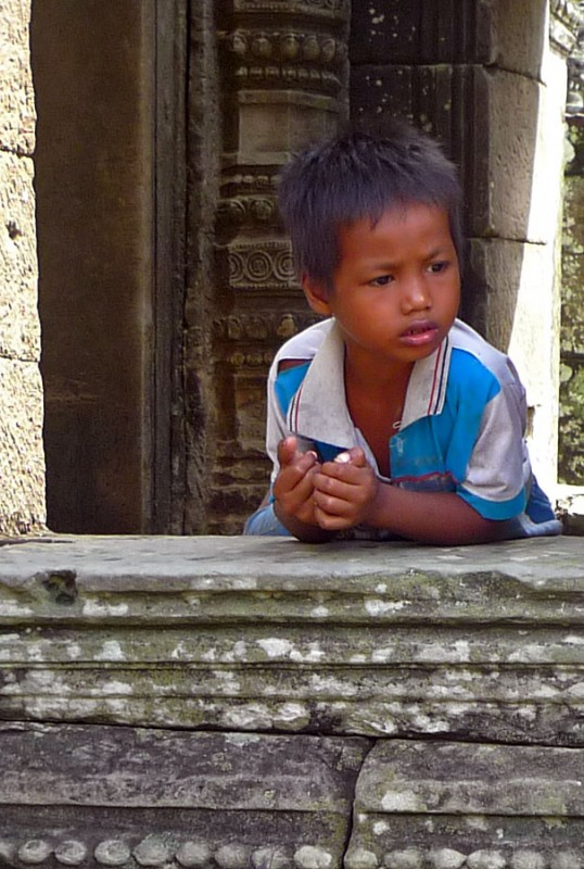 cambodian boy at Angkor Thom