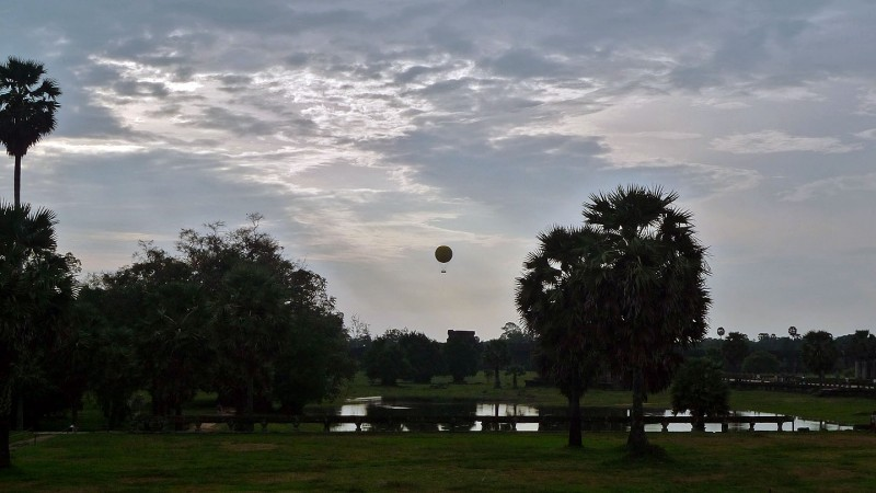 hot air balloon near Angkor Wat cambodia
