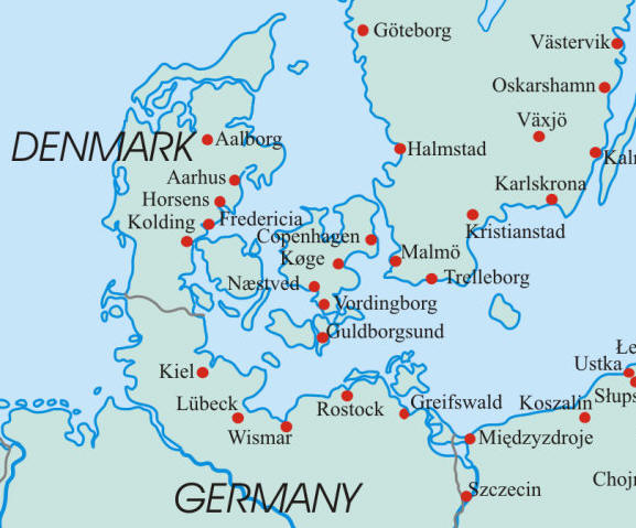 map of denmark and parts of germany and sweden