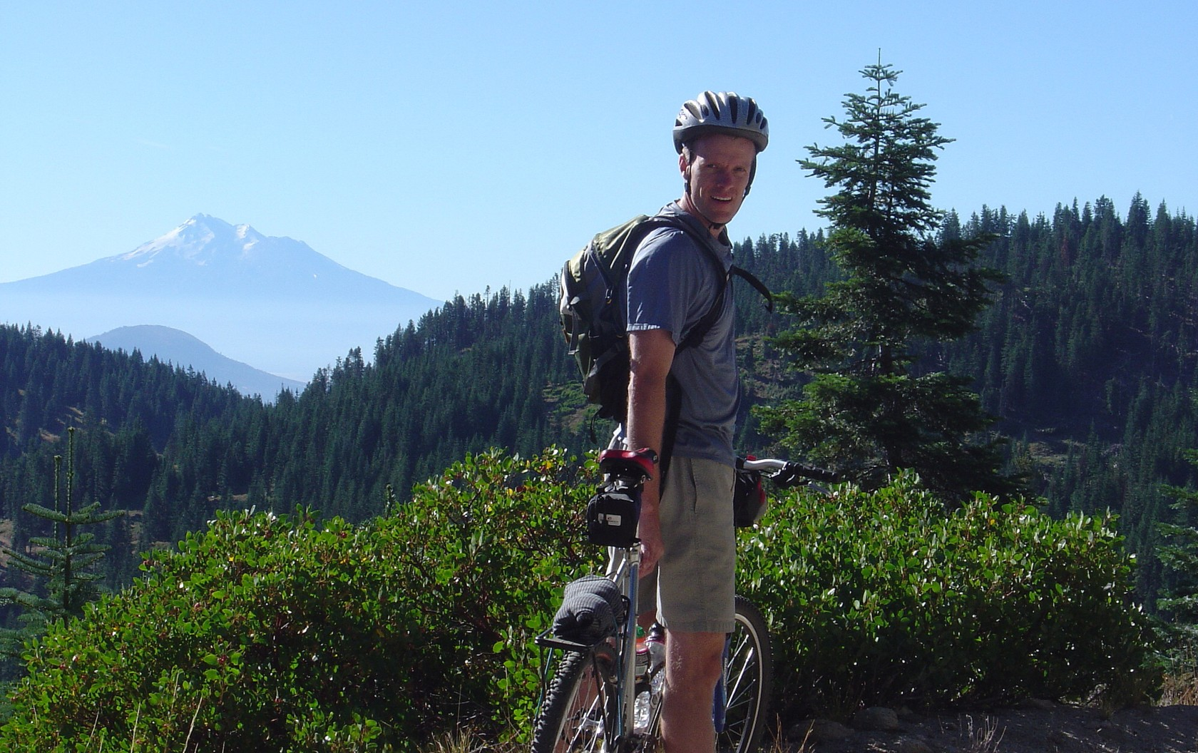 Mountain Biking near Mount Ashland with Mt. Shasta in the background