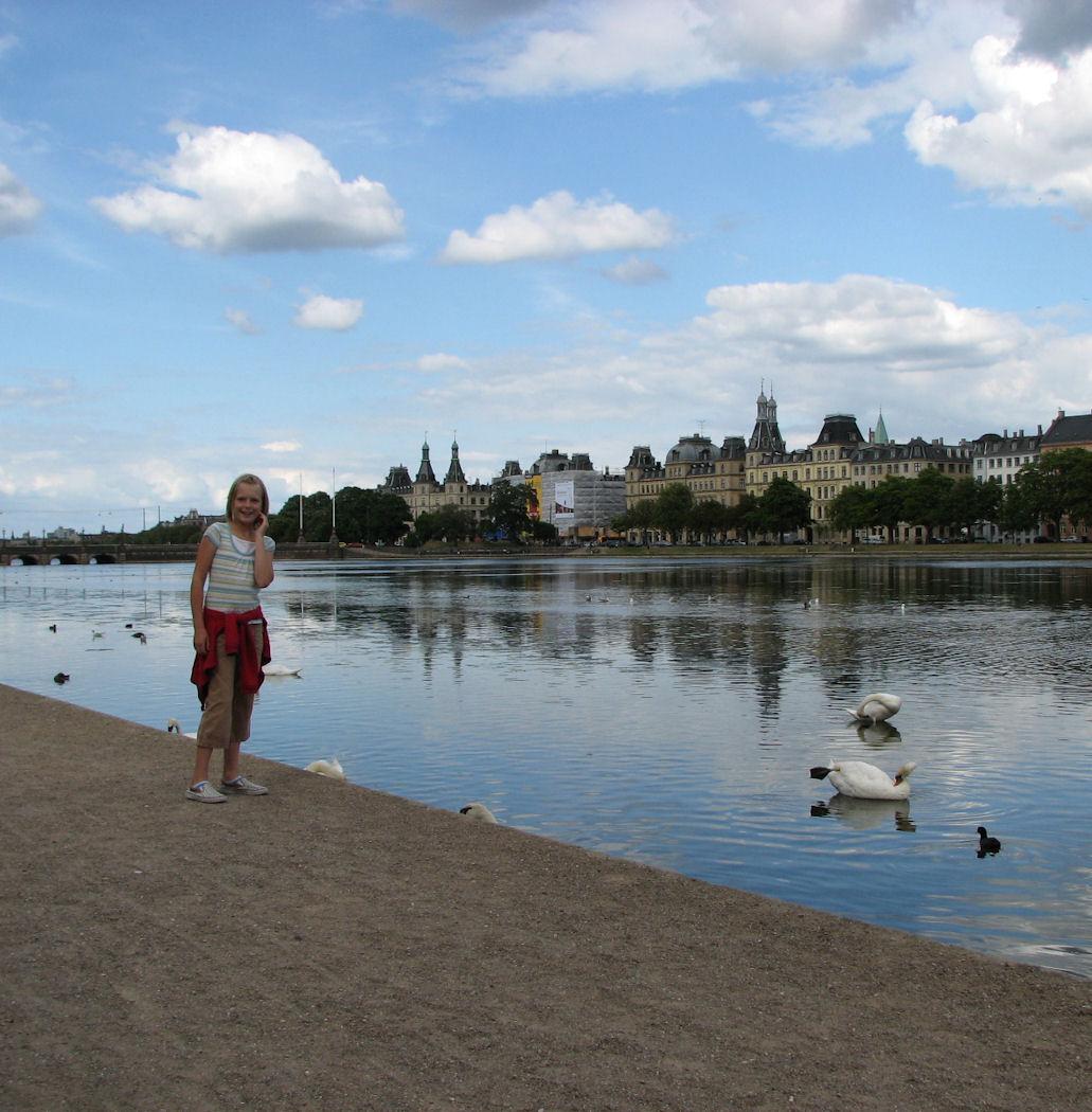 Ellie and the swans in Copenhagen