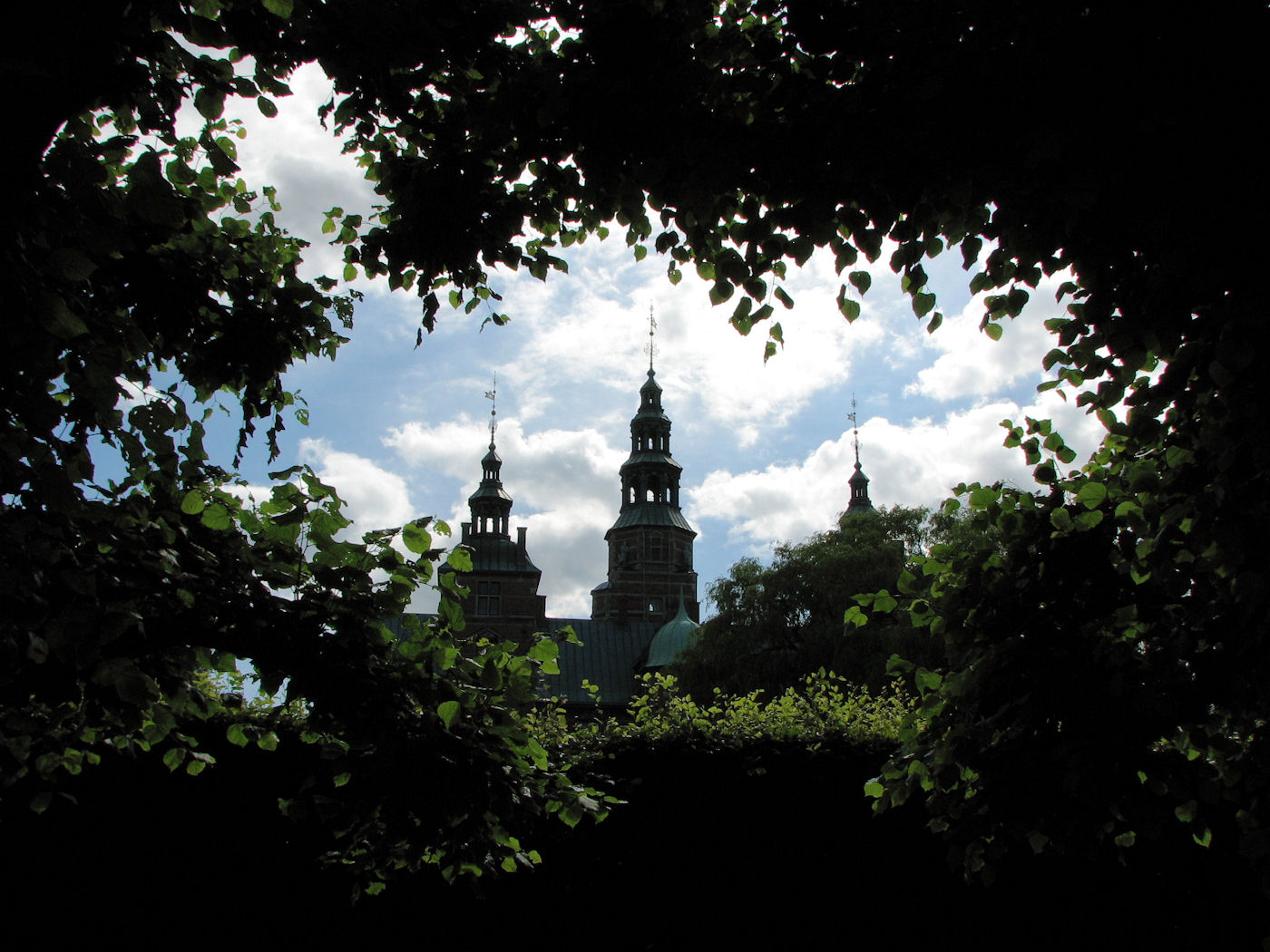 Tree-framed view of Rosenborg Castle