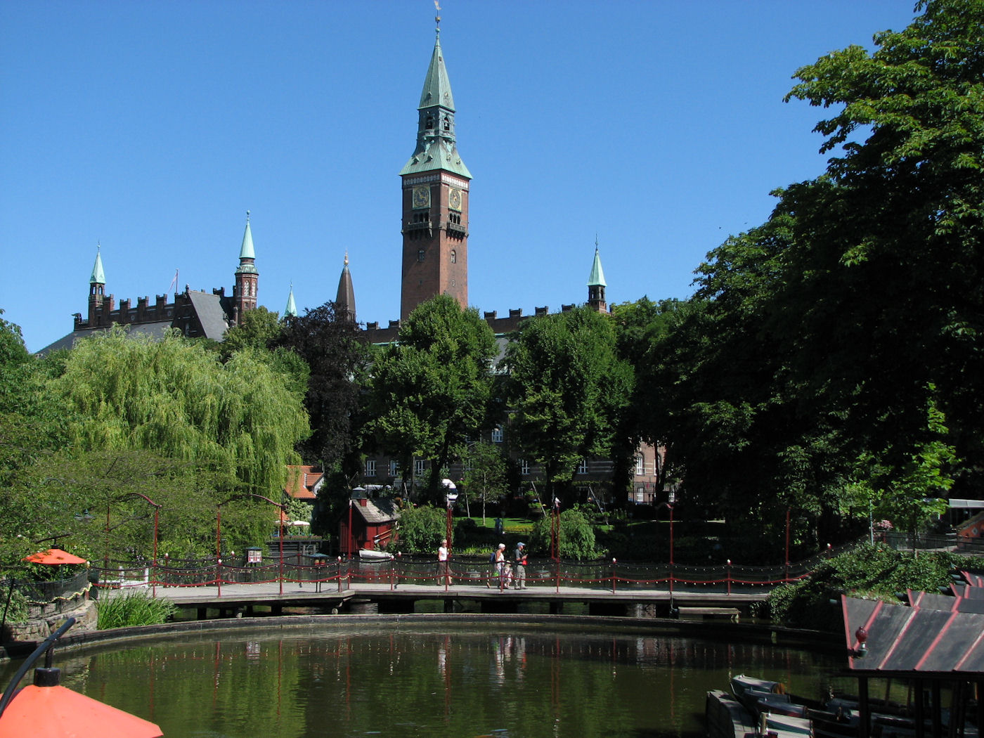 Copenhagen City Hall from inside Tivoli Gardens
