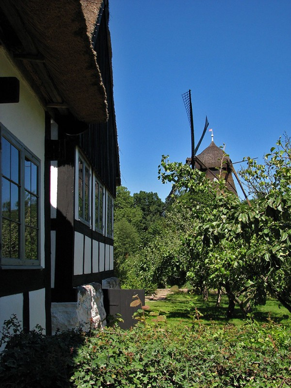 old mill and thatched roof danish cottage